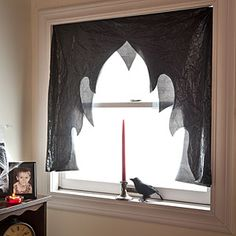 Dramatic curtains made from trash bags.