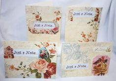 "Handcrafted by Teal Palmetto, LLC.  This set has 4 ""Just A Note"" cards in a gorgeous Victorian floral motif.  Price: $10."