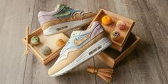 Nike Air Max by Ryustyler Reference Traditional Japanese Sweets: Sneaker customizer Chase Shiel and photographer Ryustyler team up once again. Air Max 1s, Nike Air Max, Wooden Gift Boxes, Wooden Gifts, Cow Nails, Japanese Tea Ceremony, Ballet Girls, Japanese Sweets, Japanese Fabric