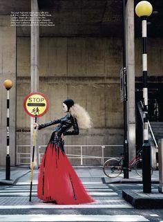 Photographed by Kayt Jones for Harper's Bazaar UK December 2008, not your everyday lollipop lady