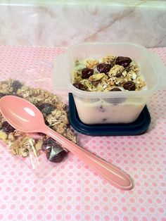 DIY YOGURT PARFAIT  Ingredients:    ½ cup low-fat granola    ¼ cup dried cherries    ¼ cup chopped walnuts    1 vanilla yogurt container    Directions:    1. Mix the granola, dried cherries, and chopped walnuts together in a ziplock bag.   2. Pack it, along with the container of yogurt container and a spoon, in your bag.   3. When you are ready to eat it, mix the granola, cherries, and walnuts into the yogurt and enjoy!