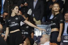 10/04/15 - Kendal Jenner and Gigi Hadid attend the French L1 football match in Paris.