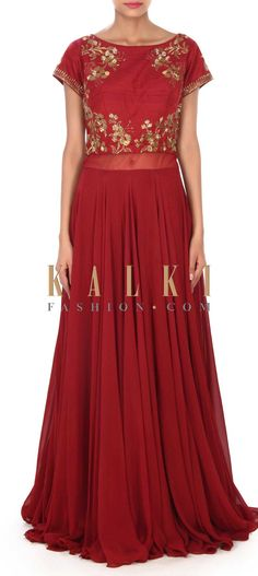 Buy this Maroon suit embellished in kardana embroidery only on Kalki