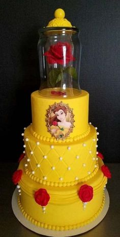 49 Best Ideas For Birthday Party Princess Fun - lilly - Birthday Party Beauty And Beast Cake, Beauty And The Beast Cake Birthdays, Beauty And Beast Birthday, Princess Belle Cake, Princess Party, Disney Princess, Belle Birthday Cake, Birthday Kids, Disney Cakes