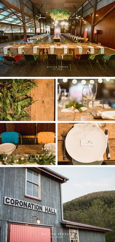 This rustic hall country wedding reception is in the charming old Coronation Hall at Somerset Dam. Set amongst a stunning mountain landscape the hall features a timber and tin backdrop filled with long wooden tables and colourful metal chairs. Styling by the amazing Bebe's Country Weddings.