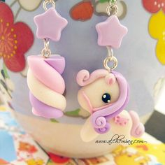 polymer clay earrings Pony Marshmallow original by AlchemianShop, €18.00