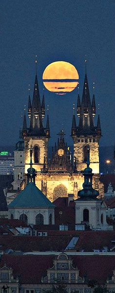 Prague is such a magical place to travel to, especially when there is a full moon over the castles, Czechia #moon #prague #czechia