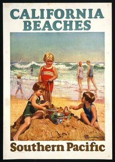 Vintage Southern Pacific Railroads Travel Poster: Californian  Beaches, 1927  Luv!
