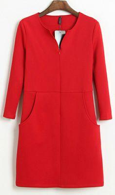 Slit sleeve dress red