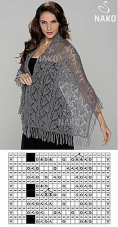 ideas for crochet lace scarf pattern charts Schals Rechteck Lace Knitting Stitches, Lace Knitting Patterns, Shawl Patterns, Lace Patterns, Baby Knitting, Knitting Needles, Knitting Machine, Knitting Tutorials, Free Knitting