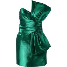 Saint Laurent strapless bow mini dress ($6,405) ❤ liked on Polyvore featuring dresses, saint laurent, green, zipper dress, short green dress, strapless cocktail dresses, short dresses and strapless mini dress