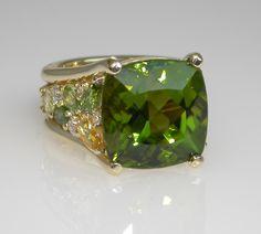 Mark Patterson Peridot, Yellow Beryl and Diamond Ring.