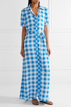 Draper James - Gingham Crepe De Chine Maxi Dress - Azure