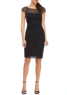 Xscape Navy Beaded Jersey Dress