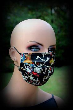 Latex Halloween Masks, Halloween Skeletons, Halloween Skull, Halloween Themes, Blue Mask, Skull Mask, Vintage Crafts, Handmade Design, Floral Fabric