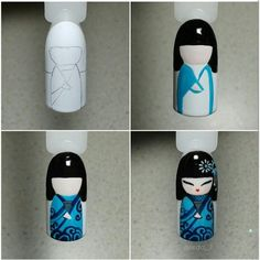 Little japanese kimono Nail Art Diy, Cool Nail Art, Love Nails, Fun Nails, Nail Art Dessin, Nail Drawing, Nail Art Pictures, Kawaii Nails, Japanese Nail Art