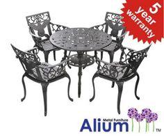"""Alium™ """"Lincoln"""" Cast Aluminium 4 Seater Round Garden Furniture Set in Black"""