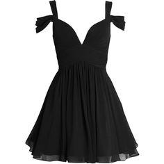 LILY - Black Chiffon Prom Dress ❤ liked on Polyvore featuring dresses, vestidos, short dresses, robe, mini dress, chiffon mini dress, chiffon cocktail dresses, cocktail prom dress and mini prom dresses