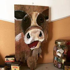 MOOOOO Cow on a yummy piece of crumbly old barn wood. #cow #farmanimals #moo #barnwood #barnart #painting #handmadeisbetter #taterbuggin #handmade #art #decor #buyhandmade #memphis #tennessee #choose901 #homedecor #thelovelyhandmade #craftcurate #ilovememphis #creativelifehappylife #creatorcommunity #supportsmallbusiness #shopsmall #lovemymakers #thehandmadeparade