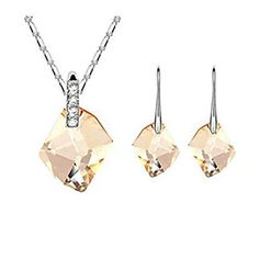 QTLI Crystal Jewelry Set include Necklace  Earrings for Wedding Party Lady  one size -- Continue to the product at the image link.