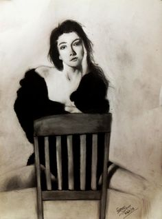 will you be my one in a six billion ???  pencil sketch... black dress is done using black oil paint...