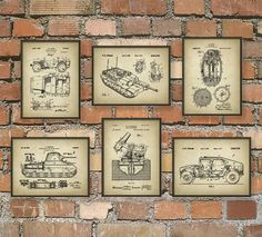 Military Patent Prints Set Of 6 - Army Art Posters - Military Vehicle - Military Equipment - Tank Design - Bedroom Wall Art Decoration Star Wars, Star Wars Decor, Nerd Room, Nerd Cave, Star Wars Vintage, Military Bedroom, Boys Army Bedroom, Star Wars Zimmer, Poster Art