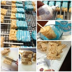 27 ideas for baby shower ideas for boys food snacks blue krispie treats Baby Shower Snacks, Baby Shower Desserts, Baby Shower Favors, Baby Shower Cakes, Baby Shower Parties, Baby Boy Shower, Shower Party, Baby Shower Centerpieces, Baby Shower Decorations
