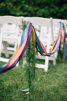 Decorate your aisle with ribbons and greenery
