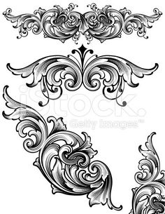 Flowing Arabesque Scrollwork royalty-free stock vector art