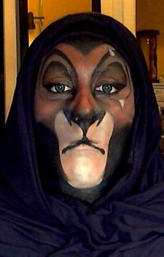K, now THIS is probably one of my favorite Scar makeups....doesn't look like an ape. I like that.  Scar Face Paint by 2034220p4rd1.deviantart.com on @deviantART - Too bad the photo's so small, because this. Is. Amazing!