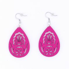 Fuchsia Peacock Filigree Wood Earrings by MoonRoseDesign on Etsy