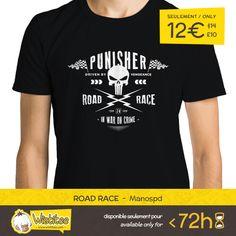 """(EN) """"Road Race"""" designed by the astounding Manospd is our NEW T-SHIRT. Available 72 hours, order yours today for only 12€/$14/£10 on WWW.WISTITEE.COM     (FR) """"Road Race"""" créé par l'incroyable Manospd est notre NOUVEAU T-SHIRT. Disponible 72 heures, réservez-le dès maintenant pour seulement 12€ sur WWW.WISTITEE.COM     #Punisher #FrankCastle #vengeance #course #race #ThePunisher #crane #skull #route #road #courir #drive #crime #guerre #war #marine #Daredevil #comics #Marvel #Manospd…"""
