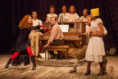 Alison Cimmet as Witch (far left) with the cast of Stephen Sondheim and James Lapine's Into the Woods, in a reimagining by Fiasco Theater, d...