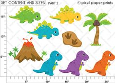 Dinosaurs Clipart and Digital Paper Set by pixelpaperprints