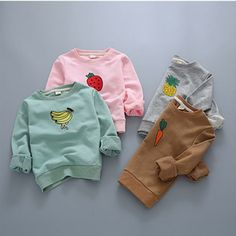 Fair price Girls t shirt autumn 2016 fashion fruit banana boys hoodies spring sweater cartoon embroidery pineapple strawberry kids clothes just only $14.31 with free shipping worldwide  #boysclothing Plese click on picture to see our special price for you
