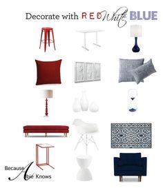 Time For Some Red, White, and NEW! by albieknows on Polyvore featuring polyvore, interior, interiors, interior design, home, home decor, interior decorating, Joybird, Herman Miller, Uttermost, Serena & Lily, CB2, Dot & Bo and VERONA