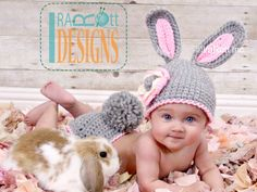 Easter Bunny Hat and Diaper Cover Set PDF Crochet Pattern