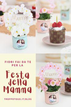 """Sul blog di Troppotogo trovate il tutorial completo per creare un regalo fai da te per la mamma: una bellissima piantina in """"lattina"""" con una corona di fiori. Un regalo che di sicuro non si aspetta! #mothersday #mamma #mum #mom #festadellamamma #regalo #faidate #DIY #fattoamano #idee #originali #gifts #gift #ideas Tutorial, Desserts, Blog, Gift, Tailgate Desserts, Deserts, Postres, Blogging, Dessert"""