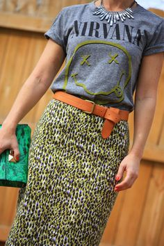 leopard pencil skirt with casual tee