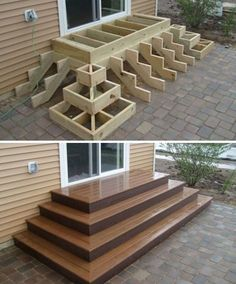 Home Discover Deck stairs - 27 gorgeous patio deck design ideas to inspire you updowny com Outdoor Projects Home Projects Project Projects Backyard Projects Types Of Stairs Deck Stairs Wood Stairs Front Porch Stairs House Stairs Backyard Patio, Backyard Landscaping, Wood Patio, Wood Decks, Backyard Layout, Patio Decks, Patio Deck Designs, Landscaping Ideas, Pallet Patio