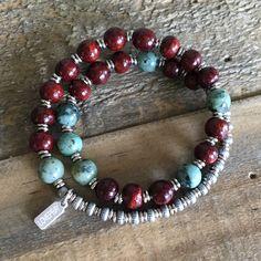 Rosewood and African turquoise 27 bead wrap wrist mala unisex bracelet