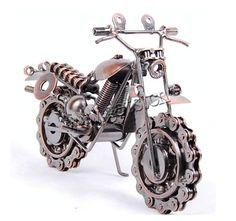 New Wrought Iron art Motor motorcycle model Bike chain wheel metal alloy motorbike art model Home decoration-in Crafts from Home &. Welding Art Projects, Metal Art Projects, Metal Crafts, Metal Sculpture Artists, Steel Sculpture, Miller Welding Helmet, Metal Welding, Diy Welding, Scrap Metal Art