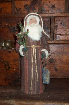 Primitive Old German Style Brown Rusty Red Quilt Santa Claus Tree Lantern | eBay