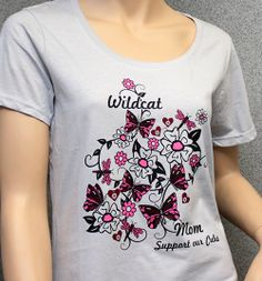 School spirit t-shirt for mom with butterflies, dragonflies, hearts, and flowers: QAL-439 More ideas at easyprints.com [Spirit Wear] School Spirit Wear, Dragonflies, Butterflies, Hearts, V Neck, T Shirts For Women, Mom, Flowers, Mens Tops