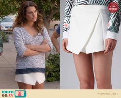 Rachel's white wrap skirt on Glee.  Outfit Details: http://wornontv.net/32434/ #Glee
