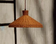 Vintage Hanging Light Wicker Natural - Swag Rattan Pendant Light