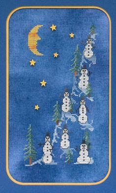 Glendon Place Midnight On Snowman Hill - Cross Stitch Pattern. Model stitched on 28ct. Midnight Cashel linen using Gentle Arts Sampler Threads.  Weeks Dye Works