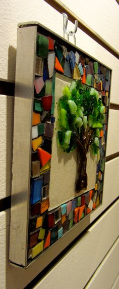 tree wall hanging with mosaic frame... another good use for scrap glass