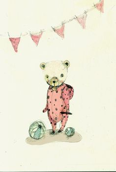 Bear in Pijamas Pipino III PRINT 6x8 inches by holli on Etsy, $10.00