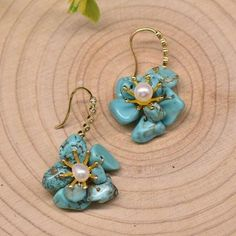 Natural Baroque Pearl Turquoise Flower Shape Drop Earrings For Women Party Models, Turquoise Flowers, Pearl Flower, Baroque Pearls, Flower Shape, Shape Patterns, Luxury Jewelry, Types Of Metal, Women's Earrings